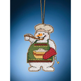 Cooking Snowman Cross Stitch and Beading Kit by Mill Hill