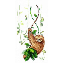 Perky Sloth Cross Stitch Kit On Water Soluble Canvas by MP Studia