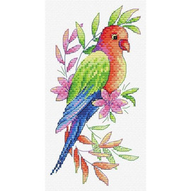 Parrot Cross Stitch Kit On Water Soluble Canvas by MP Studia