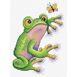 Frog Cross Stitch Kit On Water Soluble Canvas by MP Studia