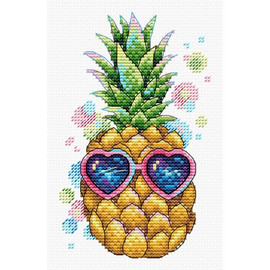 Sunny Pineapple Cross Stitch Kit On Water Soluble Canvas by MP Studia