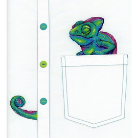 Curious Chameleon Cross Stitch Kit On Water Soluble Canvas By MP Studia