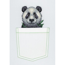 Cheerful Panda Cross Stitch Kit On Soluble Canvas By MP Studia