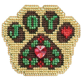 """Santa Paws Counted Cross Stitch Kit 2.5""""X3.25"""" by Mill Hill"""
