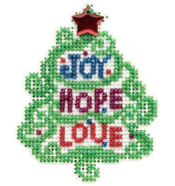 """Joy, Hope, Love Counted Cross Stitch Kit 2.5""""X3.25"""" by Mill Hill"""