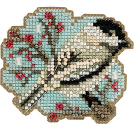"""Little Chickadee-Perforated Paper Counted Cross Stitch Ornament Kit 3""""X2.5"""" by Mill Hill"""