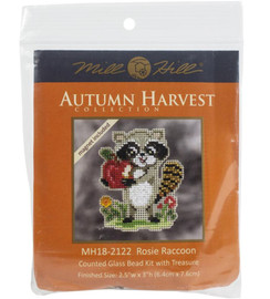 """Rosie Raccoon Counted Cross Stitch Kit 3.25""""X2.5"""" by Mill Hill"""
