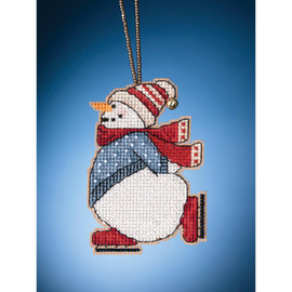 Skating Snowman Cross stitch and Beading Kit by Mill Hill