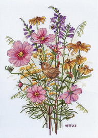 September Flowers and Wren Counted Cross Stitch Kit By Merejka