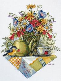 Wildflower Tea Counted Cross Stitch Kit By Merejka