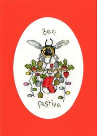 Bee Festive Cross Stitch Card Kit by Eleanor Teasdale
