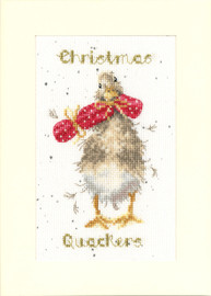 Christmas Quackers Cross Stitch Card Kit by Hannah Dale