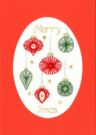 Christmas Baubles Cross Stitch Card Kit by Bothy Designs