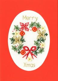 Christmas Wreath Cross Stitch Card Kit by Bothy Threads