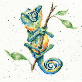 One In A Chameleon Cross Stitch Kit by Hannah Dale