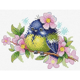 Romantic Bird With Flowers Cross Stitch Kit By MP Studia
