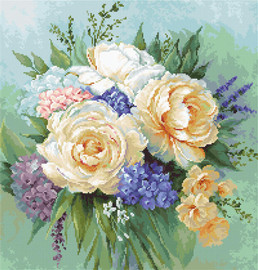 Floral Bouquet Counted Cross Stitch Kit By Luca-S