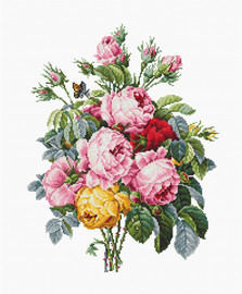Roses on Evenweave Counted Cross Stitch Kit By Luca-S