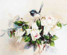 Bluetit on Roses on Aida Counted Cross Stitch Kit By Luca-S