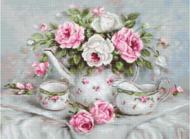 English Tea & Roses on Aida Counted Cross Stitch Kit By Luca-S