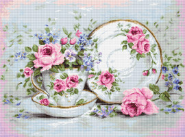 Trio with Blooms on Aida Counted Cross Stitch Kit By Luca-S