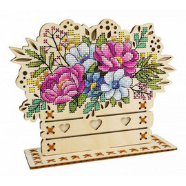 Flower Composition Cross Stitch Kit On Plywood By MP Studia