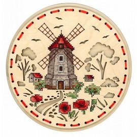 Rural Windmill Cross Stitch Kit On Plywood By MP Studia