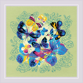Bright Butterflies Counted Cross Stitch Kit By RIOLIS