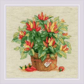 Pepper in a Pot Counted Cross Stitch Kit By RIOLIS