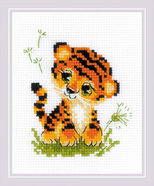 Baby Tiger Counted Cross Stitch Kit By RIOLIS