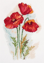 Watercolour Poppies Counted Cross Stitch Kit By Panna