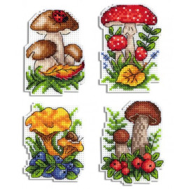Mushroom Basket Magnet Cross Stitch Kit On Plastic Canvas By MP Studia
