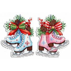 New Year Ice Skates Cross Stitch Kit On Plastic Canvas By MP Studia