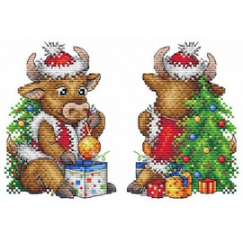 Christmas Bull Cross Stitch Kit On Plastic Canvas By MP Studia
