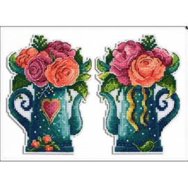 Flowers Of Love Cross Stitch Kit On Plastic Canvas By MP Studia