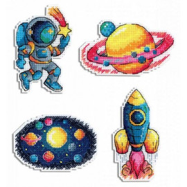 Space Magnets Cross Stitch On Plastic Canvas By MP Studia