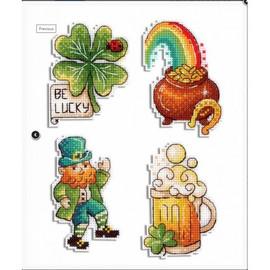 St. Patrick's Day Magnets Cross Stitch Kit By MP Studia
