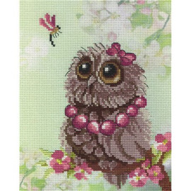 Spring Owl Printed Cross Stitch Kit By MP Studia