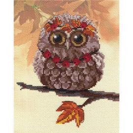 Autumn Owl Printed Cross Stitch Kit By MP Studia