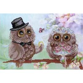 Owl Wedding Printed Cross Stitch Kit By MP Studia