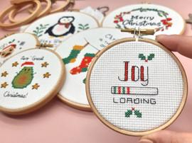"Joy Loading 3"" Christmas Cross Stitch Kit by Sew Sophie"
