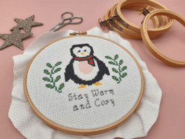 """Stay Warm and Cosy Penguin 6"""" Christmas Cross Stitch Kit by Sew Sophie"""