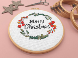"""Merry Christmas Wreath 6"""" Cross Stitch Kit by Sew Sophie"""