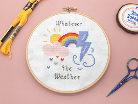"""Whatever The Weather 6"""" Cross Stitch Kit by Sew Sophie"""