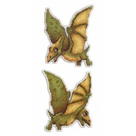 Pterodactyl Dinosaur Cross Stitch Kit On Plastic Canvas By MP Studia