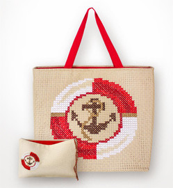 Red Anchor Bag and Purse Set Counted Cross Stitch Kit By Luca-S