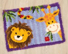 Lion and Giraffe Latch Hook Rug Kit