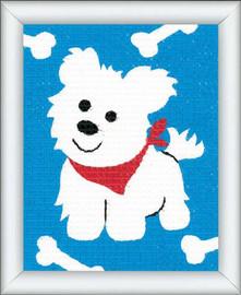 White Dog Children Tapestry Kit