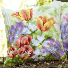 Spring Flowers Chunky Cross Stitch Kit by Vervaco