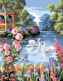 L etang Fleuri Tapestry Canvas